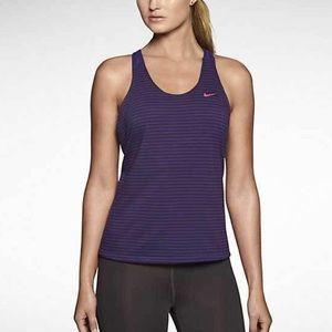 Nike Elastika Striped Tank Purple Large